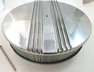14 X 3 Classic Finned Polished Aluminum Air Cleaner Kit 4 Brl Chevy Ford Mopar