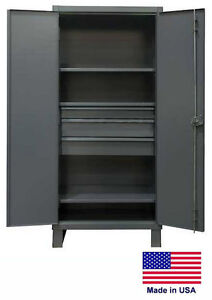 Steel Cabinet Commercial industrial Shelves Drawers 3 3 78 H X 24 D X 36 W