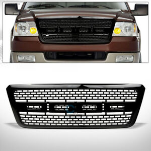 Fits 04 08 Ford F150 Glossy Black Rp Style Square Mesh Front Bumper Grill Grille
