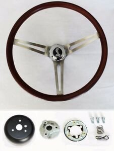 Mustang Shelby Gt350 Low Gloss Wood Grip Steering Wheel With Cobra Cap 15