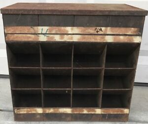 Vtg 40s Metal Bolt Gravity Feed 12 Bin Hardware Store Display Industrial Cabinet