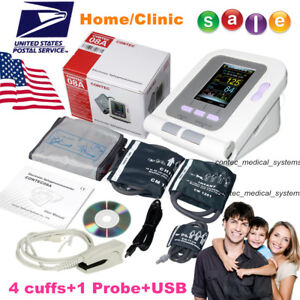 Digital Upper Arm Blood Pressure Monitor 4 Bp Cuffs Adult neonate spo2 Probe usb
