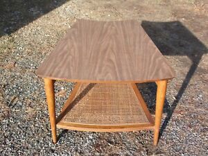 Vintage Mid Century Modern Lane 2 Tier Walnut Wedge End Table Cane Shelf C 1966