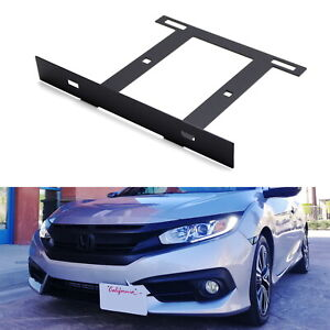 Jdm Front License Plate Side Relocation Mounting Bracket For 2016 Up Honda Civic