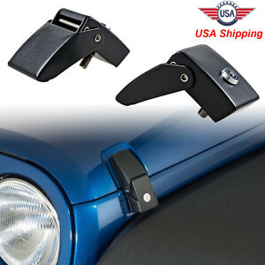 Black Aluminum Locking Hood Look Latches For Jeep Wrangler 07 18 Jk