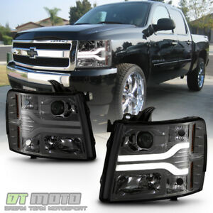 Smoke 2007 2013 Chevy Silverado 1500 2500 3500 Led Drl Tube Projector Headlights