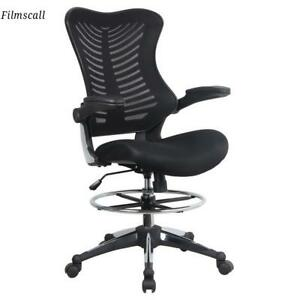 Ergonomic Adjustable Drafting Reception Office Mesh Stool Chair With Armrests