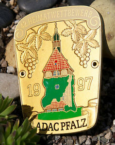 Vintage Enamel German Automobile Car Badge Adac Pfalz Home Rally 1997 Porsche