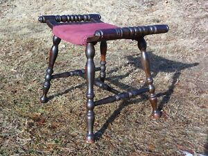 Vintage Curved Seat Press Back Saddle Bench Piano Stool Vanity Chair C 1910 1920