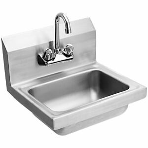 Commercial Stainless Steel Wall Mount Hand Washing Wash Sink Basin With Faucet