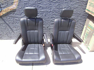 Black Leather 2 Bucket Seats With Red Stitching Humvee Hotrod Truck Classic Car