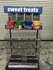 4 Candy Dispensers With 5 Tier Wire Display Rack 7938 Commercial Retail Holder