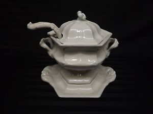 Red Cliff American White Ironstone 6 Sided Soup Tureen Lid Ladle