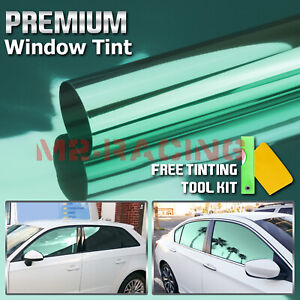 20 X10ft Uncut Roll Window Mirror Chrome Green Tint Film Car Home Office Glass