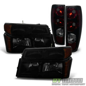 Blk Smoke 2004 2012 Chevy Colorado Gmc Canyon Headlights Tail Lights Lamps 04 12