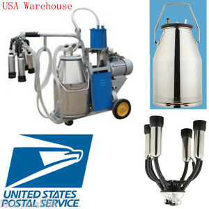 Usa Portable Milker Electric Piston Vacuum Pump Milking Machine Farm Cows Bucket