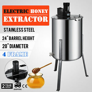 Vevor Large 4 Frame Stainless Steel Honey Extractor Beekeeping Equipment New