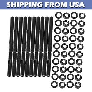 For Ford 351w 351 W 408 Cylinder Head Stud Kit 4340 12 Point Nuts Bolts Grade 8