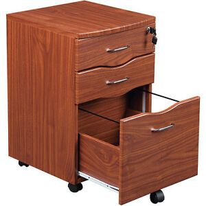 Wood Rolling File Office Cabinet Cart 3 Drawer Storage Locking Casters Mahogany