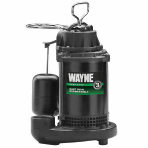 Wayne Cdu790 Cast Iron Submersible Sump Pump With Vertical Switch 1 3 Hp