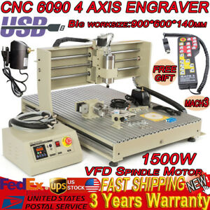 Usb 6090 1 5kw Four 4 Axis Cnc Router Engraver Milling Engraving mach3 Handwheel