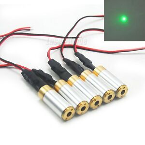 5pcs 532nm 10mw Green Focus Dot Laser Diode Module 3 5vdc Brass Locator Led