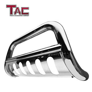 For 2016 2019 Toyota Tacoma 3 Chrome Bull Bar Brush Grille Guard Front Bumper