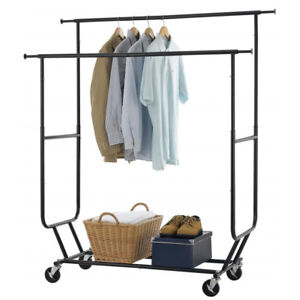 Heavy Duty Grade Collapsible Clothing Rolling Double Garment Rack Hanger Holder