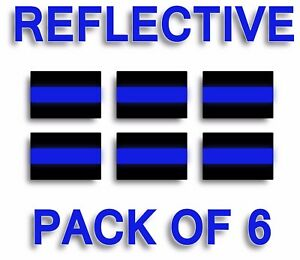 Pack Of 6 Reflective Thin Blue Line 3 X2 License Plate Decals Stickers Police
