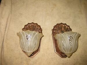Pair Of Vintage 1930 S Art Deco Slip Shade Sconces