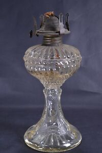 Vintage Glass Oil Lamp With Moulded Pressed Cut Glass Patterned Base