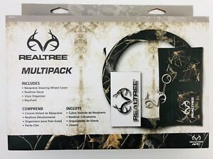 Realtree Multipack Steering Wheel Cover Decal Keychain Visor Organizer Camo Gift