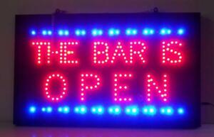 Neon Open Sign Business Horizontal The Bar Is Open Led Neonetics Ultra Bright