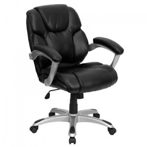 Black Leather Mid Back Office Computer Chair