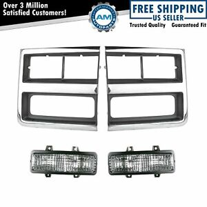 Headlight Lamp Bezel Parking Marker Light For 89 91 Chevy Truck Suv New