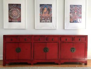 Antique Chinese Red Lacquered Sideboard Triple Buffet Cabinet