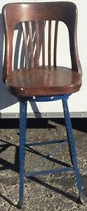 Antique Ca 20s 30s Drafting Stool Industrial Bar Chair Vtg Kitchen Island Decor