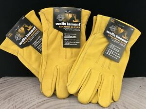 Wells Lamont Premium Cowhide Leather Work Gloves 3 Pair Pack Size X Large