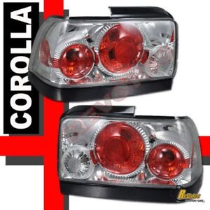 Chrome Tail Lights Lamps 1 Pair For 93 94 95 96 97 Toyota Corolla