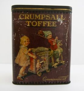 Antique Crumpsall Toffee Original Painted Tin Box Early 20th Century