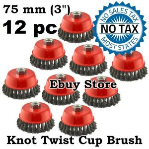 12pc 3 X 5 8 11 Nc Fine Knot Wire Cup Brush Twist For Angle Grinders Wheel