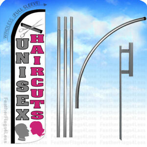 Unisex Haircuts Windless Swooper Flag Kit Feather Banner Sign 15 Wz