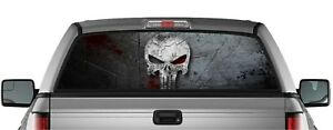 Perforated Punisher Sticker Skull Pick up Truck Back Window Graphic Decal Vinyl