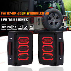 07 17 Jeep Wrangler Jk Led Tail Light Rear Brake Reverse Turn Signal Lamp Black