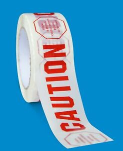 324 Rolls Caution Printed Acrylic Carton Sealing Tapes 2 Mil 2 X 110 Yards