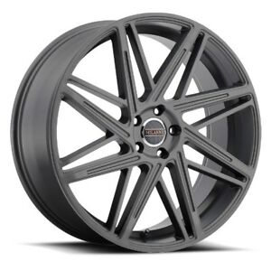 22x9 Milanni 9062 Blitz 5x120 Et15 Anthracite Rims New Set 4