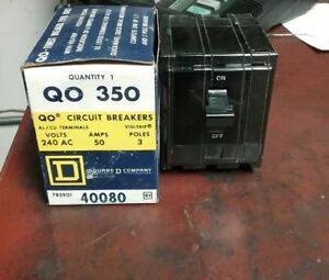 Square D Qo 350 Circuit Breaker 240v 3 Pole 50amp