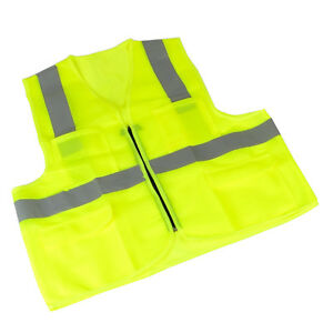 10pack Zipper Safety Vest W Reflective Strips And 4 Pockets neon Green Xxl