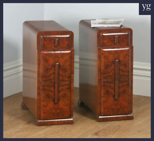 Antique Pair Two 2 Art Deco Burr Walnut Bedside Chest Table Night Stand C 1930
