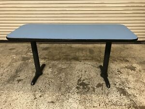 60x24 Wood Table With Black Metal Base Blue Top 7697 Commercial Restaurant
